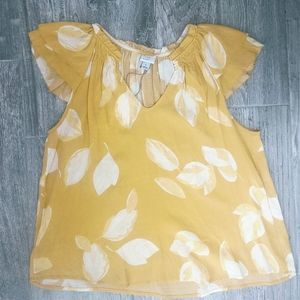 2/$30 NWT A New Day Yellow Flutter Sleeve Top